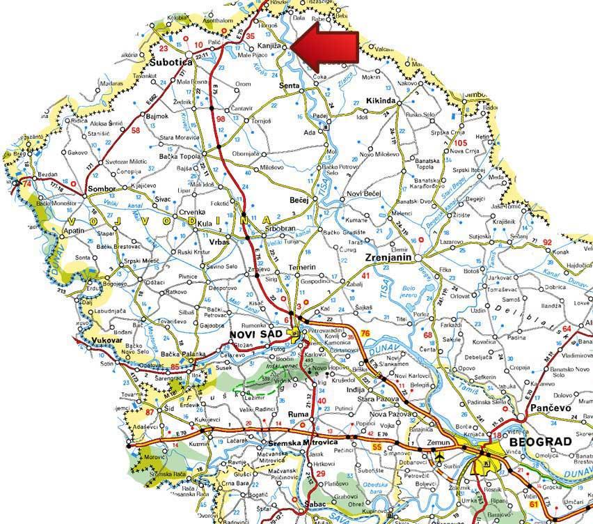 saobracajna karta vojvodine Mapa | Banja Kanjiža saobracajna karta vojvodine